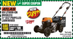 "Harbor Freight Coupon ATLAS 80V LITHIUM-ION BRUSHLESS 21"" SELF-PROPELLED LAWN MOWER Lot No. 56992 Expired: 6/30/20 - $289.99"