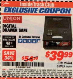 Harbor Freight ITC Coupon DIGITAL DRAWER SAFE Lot No. 62985 Expired: 7/31/19 - $39.99