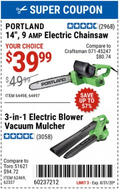 "Harbor Freight Coupon 14"", 9 AMP ELECTRIC CHAINSAW Lot No. 64498/64497 Expired: 8/31/20 - $39.99"