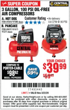 Harbor Freight Coupon 3 GALLON, 100PSI OIL-FREE AIR COMPRESSORS Lot No. 69269/97080/60637/61615/95275 Expired: 3/22/20 - $39.99