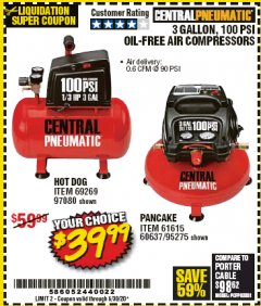 Harbor Freight Coupon 3 GALLON, 100PSI OIL-FREE AIR COMPRESSORS Lot No. 69269/97080/60637/61615/95275 Expired: 6/30/20 - $39.99