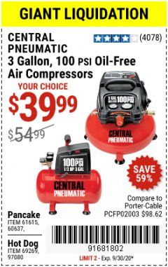 Harbor Freight Coupon 3 GALLON, 100PSI OIL-FREE AIR COMPRESSORS Lot No. 69269/97080/60637/61615/95275 Valid: 9/1/20 - 9/30/20 - $39.99