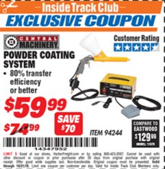 Harbor Freight ITC Coupon POWDER COATING SYSTEM Lot No. 94244 Dates Valid: 12/31/69 - 10/31/18 - $59.99