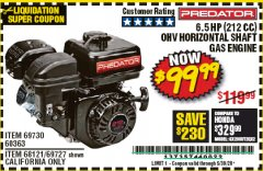 Harbor Freight Coupon 6.5 HP (212 CC) OHV HORIZONTAL SHAFT GAS ENGINE Lot No. 60363/69730/68121/69727 Valid Thru: 5/30/20 - $99.99
