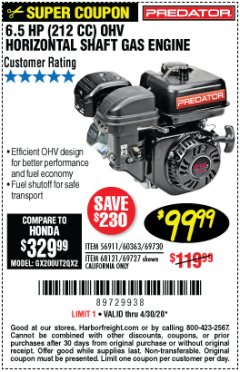 Harbor Freight Coupon 6.5 HP (212 CC) OHV HORIZONTAL SHAFT GAS ENGINE Lot No. 60363/69730/68121/69727 Valid Thru: 4/30/20 - $99.99