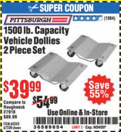 Harbor Freight Coupon 1500 LB. CAPACITY VEHICLE DOLLIES 2 PIECE SET Lot No. 60343/67338 Expired: 9/24/20 - $39.99
