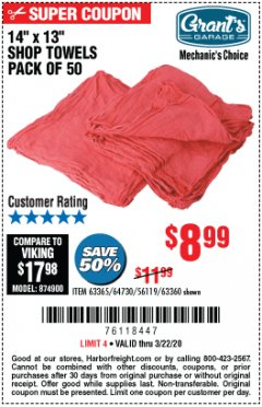 "Harbor Freight Coupon 14"" X 13"" SHOP TOWELS PACK OF 50 Lot No. 63365/64730/56119/63360 Expired: 3/22/20 - $8.99"