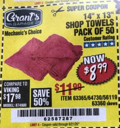 "Harbor Freight Coupon 14"" X 13"" SHOP TOWELS PACK OF 50 Lot No. 63365/64730/56119/63360 Expired: 6/21/20 - $8.99"