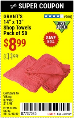 "Harbor Freight Coupon 14"" X 13"" SHOP TOWELS PACK OF 50 Lot No. 63365/64730/56119/63360 Expired: 7/31/20 - $8.99"