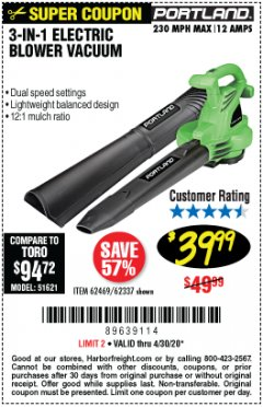 Harbor Freight Coupon 3-IN-1 ELECTRIC BLOWER VACUUM Lot No. 62469/62337 Expired: 6/30/20 - $39.99