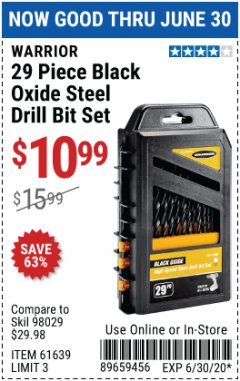 Harbor Freight Coupon WARRIOR 29 PIECE BLACK OXIDE STEEL DRILL BIT SET Lot No. 61639 Expired: 6/30/20 - $10.99
