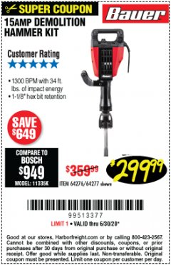 Harbor Freight Coupon BAUER 15 AMP DEMOLITION HAMMER KIT Lot No. 64276/64277 Expired: 6/30/20 - $299.99