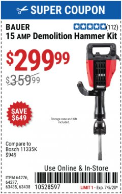 Harbor Freight Coupon BAUER 15 AMP DEMOLITION HAMMER KIT Lot No. 64276/64277 Expired: 7/5/20 - $299.99