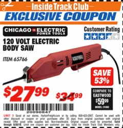 Harbor Freight ITC Coupon 120 VOLT ELECTRIC BODY SAW Lot No. 65766 Expired: 9/30/18 - $27.99