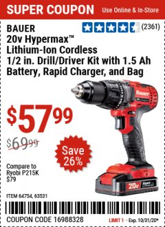 Harbor Freight Coupon 20V HYPERMAX LITHIUM-ION CORDLESS 1/2 IN. HAMMER DRILL KIT Lot No. 64754 Expired: 10/31/20 - $57.99