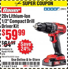 Harbor Freight Coupon 20V HYPERMAX LITHIUM-ION CORDLESS 1/2 IN. HAMMER DRILL KIT Lot No. 64754 Valid: 2/11/21 - 3/23/21 - $59.99