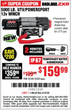 Harbor Freight Coupon 5000 LB. UTV/POWERSPORT 12V WINCH Lot No. 56530 Expired: 6/30/20 - $159.99