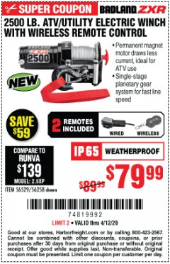 Harbor Freight Coupon BADLAND ZXR 2500 LB. ATV/UTILITY ELECTRIC WINCH WITH WIRELESS REMOTE CONTROL Lot No. 56528 Expired: 6/30/20 - $79.99