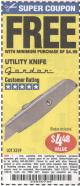 Harbor Freight FREE Coupon UTILITY KNIFE Lot No. 3359 Expired: 1/24/16 - FWP