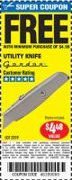 Harbor Freight FREE Coupon UTILITY KNIFE Lot No. 3359 Expired: 1/27/16 - FWP