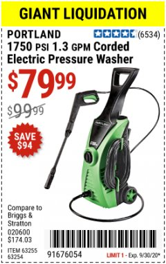 Harbor Freight Coupon PORTLAND 1750 PSI ELECTRIC PRESSURE WASHER Lot No. 63255 Valid: 9/2/20 - 9/30/20 - $78.99