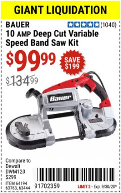"Harbor Freight Coupon 5"" DEEP CUT VARIABLE SPEED BAND SAW Lot No. 64194/63763/63444 Expired: 9/30/20 - $99.99"