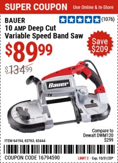 "Harbor Freight Coupon 5"" DEEP CUT VARIABLE SPEED BAND SAW Lot No. 64194/63763/63444 Expired: 10/31/20 - $89.99"