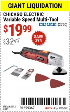 Harbor Freight Coupon VARIABLE SPEED MULTI-TOOL Lot No. 63113/67537/63111 Valid Thru: 9/30/20 - $19.99