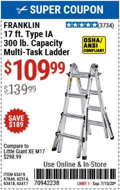 Harbor Freight Coupon FRANKLIN 17FT. TYPE IA MULTI-TASK LADDER Lot No. 63419, 67646, 62514, 63418, 63417 Expired: 7/15/20 - $109.99