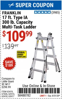 Harbor Freight Coupon FRANKLIN 17FT. TYPE IA MULTI-TASK LADDER Lot No. 63419, 67646, 62514, 63418, 63417 Expired: 8/31/20 - $109.99