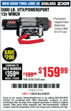 Harbor Freight Coupon 5000LB UTV/POWERSPORT 12V WINCH Lot No. 56530/56326 Expired: 6/30/20 - $159.99