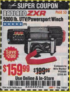 Harbor Freight Coupon 5000LB UTV/POWERSPORT 12V WINCH Lot No. 56530/56326 Expired: 7/5/20 - $159.99