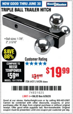 Harbor Freight Coupon TRIPLE BALL TRAILER HITCH Lot No. 64311/64286 Expired: 6/30/20 - $19.99