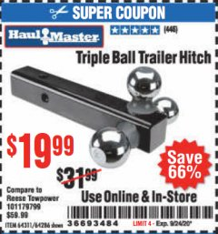 Harbor Freight Coupon TRIPLE BALL TRAILER HITCH Lot No. 64311/64286 Valid: 8/3/20 - 9/24/20 - $19.99