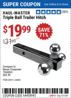 Harbor Freight Coupon TRIPLE BALL TRAILER HITCH Lot No. 64311/64286 Expired: 9/7/20 - $19.99