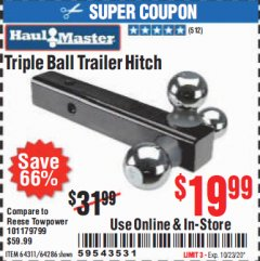 Harbor Freight Coupon TRIPLE BALL TRAILER HITCH Lot No. 64311/64286 Valid Thru: 10/13/20 - $19.99