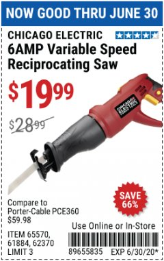 Harbor Freight Coupon CHICAGO ELECTRIC 6AMP VARIABLE SPEED RECIPROCATING SAW Lot No. 65570 Expired: 6/30/20 - $19.99