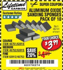 Harbor Freight Coupon LIFETIME ALUMINUM OXIDE SANDING SPONGES PACK OF 10 Lot No. 46751, 63918, 46752, 63915, 63912, 46753 Expired: 6/21/20 - $3.99