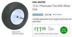 Harbor Freight Coupon 13 IN. PENUMATIC TIRE WITH WHITE HUB Lot No. 37767 Expired: 6/30/20 - $11.99