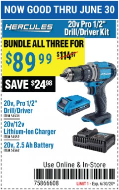 "Harbor Freight Coupon HERCULES 20V PRO 1/2"" DRILL/DRIVER KIT Lot No. 56534/56559/56562 Expired: 6/30/20 - $89.99"
