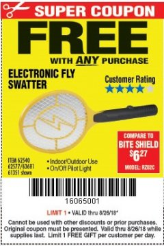 Harbor Freight FREE Coupon ELECTRIC FLY SWATTER Lot No. 61351/40122/62540/62577 Expired: 8/26/18 - FWP