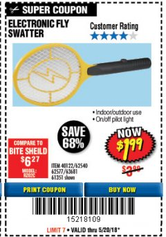 Harbor Freight Coupon ELECTRIC FLY SWATTER Lot No. 61351/40122/62540/62577 Expired: 5/20/18 - $1.99