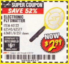 Harbor Freight Coupon ELECTRIC FLY SWATTER Lot No. 61351/40122/62540/62577 Expired: 6/30/18 - $2.99