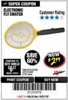 Harbor Freight Coupon ELECTRIC FLY SWATTER Lot No. 61351/40122/62540/62577 Expired: 10/31/18 - $2.49
