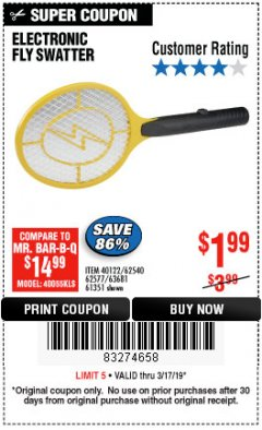 Harbor Freight Coupon ELECTRIC FLY SWATTER Lot No. 61351/40122/62540/62577 Expired: 3/17/19 - $1.99