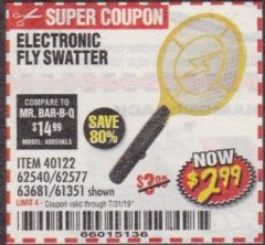 Harbor Freight Coupon ELECTRIC FLY SWATTER Lot No. 61351/40122/62540/62577 Expired: 7/31/19 - $2.99