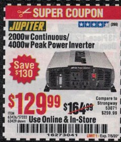Harbor Freight Coupon JUPITER 2000W CONTINUOUS/4000W PEAK POWER INVERTER Lot No. 63426, 57333, 63429 Expired: 7/5/20 - $129.99