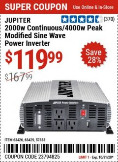 Harbor Freight Coupon JUPITER 2000W CONTINUOUS/4000W PEAK POWER INVERTER Lot No. 63426, 57333, 63429 Expired: 9/28/20 - $119.99
