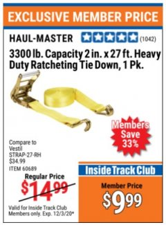 "Harbor Freight ITC Coupon HAUL-MASTER 2"" X 27 FT, 3300LB CAPACITY RATCHETING TIE DOWN Lot No. 95106, 60689, 62134, 63012, 56669 Valid Thru: 12/3/20 - $9.99"