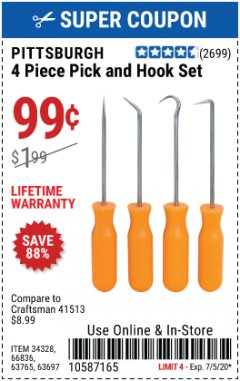 Harbor Freight Coupon PITTSBURGH 4 PIECE PICK AND HOOK SET Lot No. 34328, 66836, 63765, 63697 Expired: 7/5/20 - $0.99